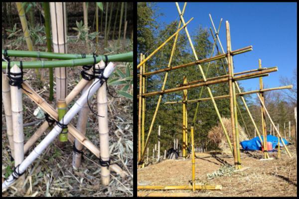 竹小屋作り ~足場と建前~