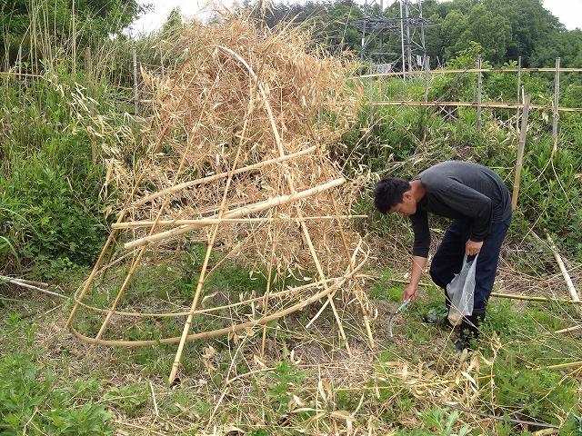 自然は遊びで溢れてる♪ ~籠作り、竹のオブジェ?~