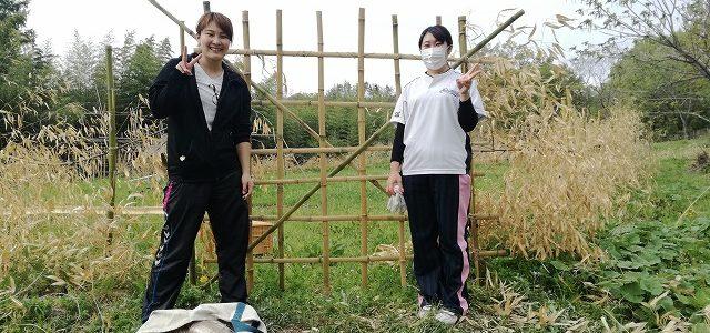 学生ボランティアさんと ~Day1 竹柵作り~