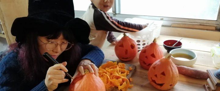 ハロウィンパーティー用の準備2 ~ピニャータ+カボチャランタン作り~