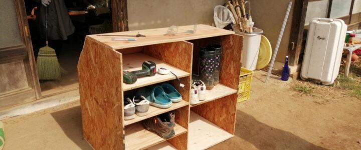 靴箱制作 ~階段の形に合わせて~